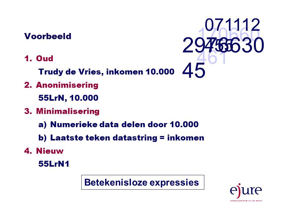 Voorbeeld 1.Oud Trudy de Vries, inkomen 10.000 2.Anonimisering 55LrN, 10.000 3.Minimalisering a)Numerieke data delen door 10.000 b)Laatste teken datastring = inkomen 4.Nieuw 55LrN1 Betekenisloze expressies 170660 461 071112 455 2976630 45
