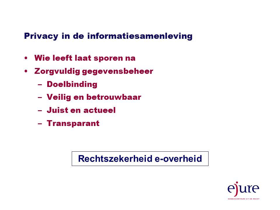 Privacy in de informatiesamenleving Wie leeft laat sporen na Zorgvuldig gegevensbeheer –Doelbinding –Veilig en betrouwbaar –Juist en actueel –Transparant Rechtszekerheid e-overheid