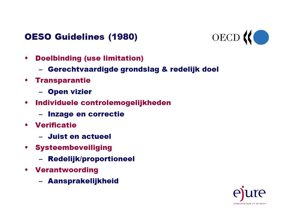 OESO Guidelines (1980) Doelbinding (use limitation) –Gerechtvaardigde grondslag & redelijk doel Transparantie –Open vizier Individuele controlemogelijkheden –Inzage en correctie Verificatie –Juist en actueel Systeembeveiliging –Redelijk/proportioneel Verantwoording –Aansprakelijkheid