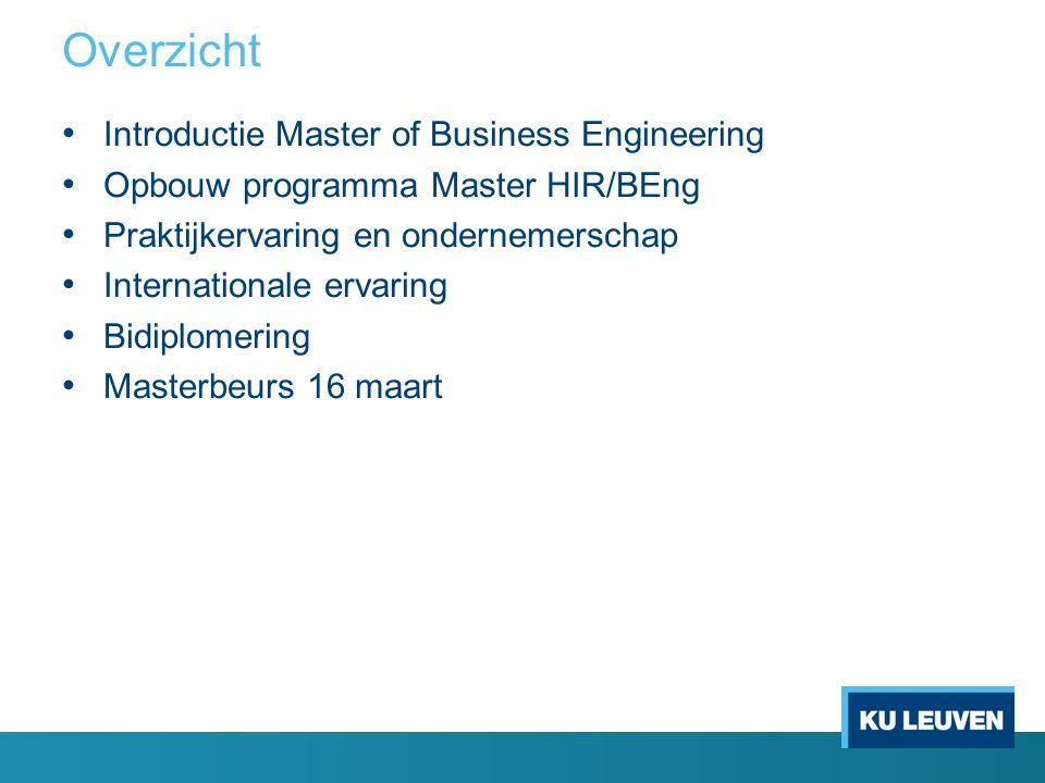 Overzicht Introductie Master of Business Engineering Opbouw programma Master HIR/BEng Praktijkervaring en ondernemerschap Internationale ervaring Bidiplomering Masterbeurs 16 maart