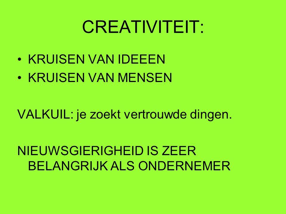 CREATIVITEIT: KRUISEN VAN IDEEEN KRUISEN VAN MENSEN VALKUIL: je zoekt vertrouwde dingen. NIEUWSGIERIGHEID IS ZEER BELANGRIJK ALS ONDERNEMER
