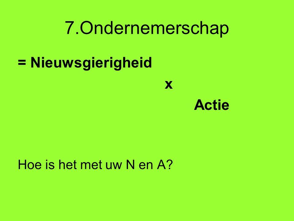 7.Ondernemerschap = Nieuwsgierigheid x Actie Hoe is het met uw N en A?