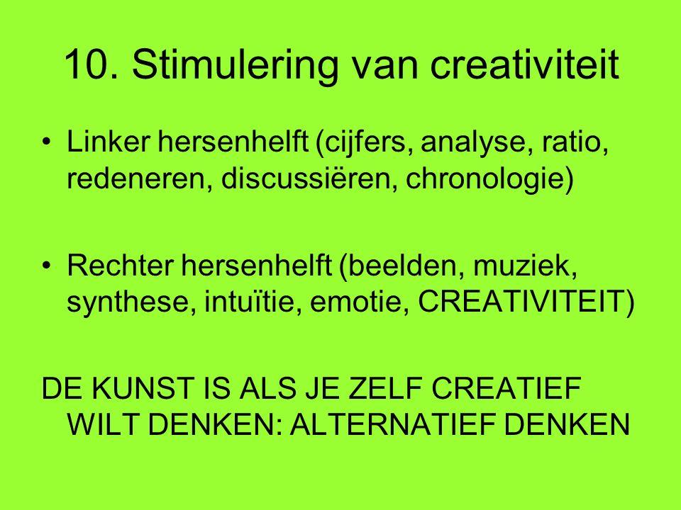 10. Stimulering van creativiteit Linker hersenhelft (cijfers, analyse, ratio, redeneren, discussiëren, chronologie) Rechter hersenhelft (beelden, muzi