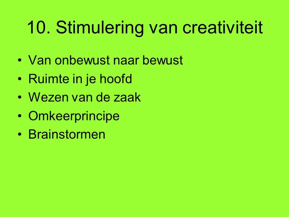 10. Stimulering van creativiteit Van onbewust naar bewust Ruimte in je hoofd Wezen van de zaak Omkeerprincipe Brainstormen