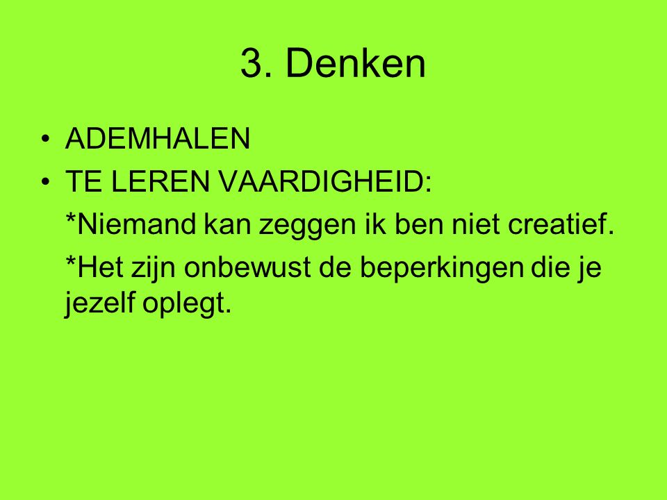 Links: Brainstormen: laat de storm door uw hersens gieren http://www.xs4all.nl/~jan/Publicaties/Brainstorme n.htm http://www.xs4all.nl/~jan/Publicaties/Brainstorme n.htm Nederlandse site van het Centrum voor Ontwikkeling van het Creatief Denken.