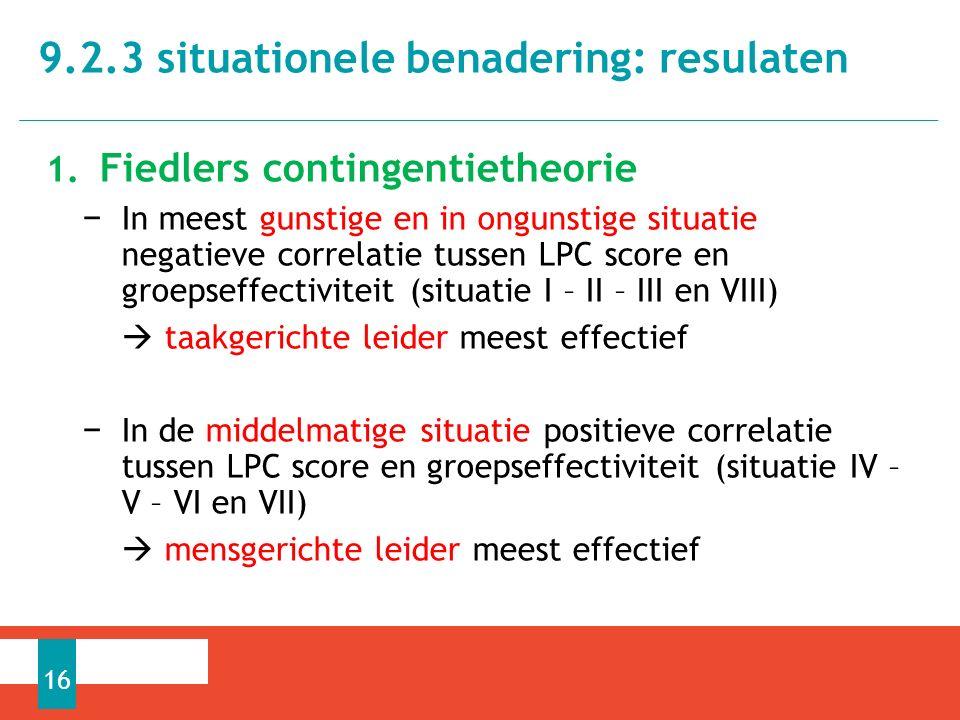 1. Fiedlers contingentietheorie − In meest gunstige en in ongunstige situatie negatieve correlatie tussen LPC score en groepseffectiviteit (situatie I