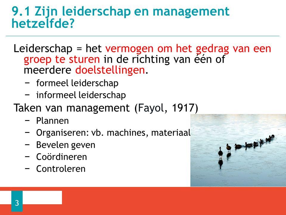 Management volgens Drucker: − Doelstellingen formuleren − Organiseren − Motiveren − Meten − OntwikkelenTim Cook, CEO Apple  Leidinggeven is een onderdeel van het management.