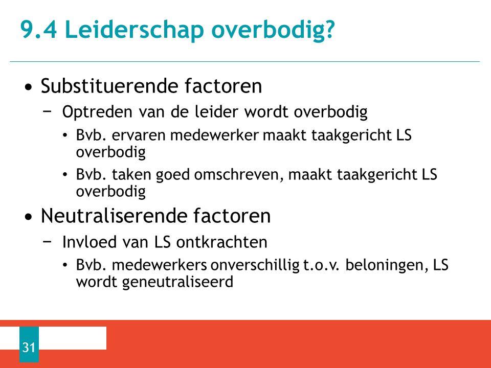 Substituerende factoren − Optreden van de leider wordt overbodig Bvb.