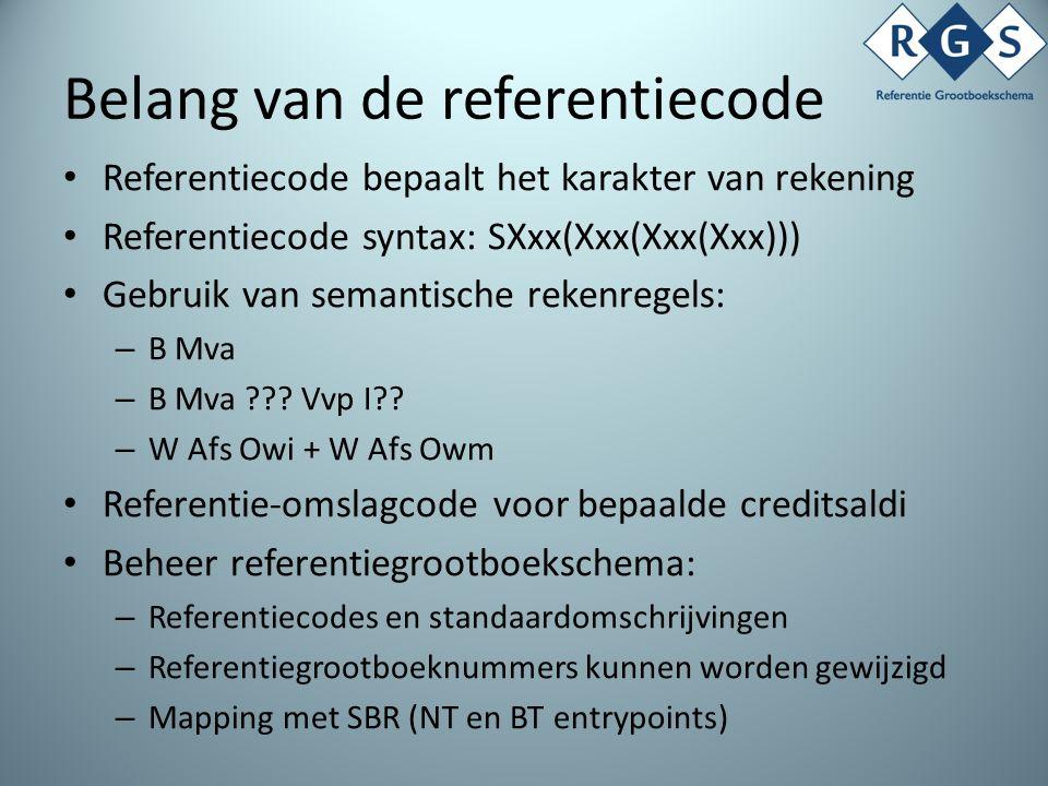 Belang van de referentiecode Referentiecode bepaalt het karakter van rekening Referentiecode syntax: SXxx(Xxx(Xxx(Xxx))) Gebruik van semantische rekenregels: – B Mva – B Mva ??.
