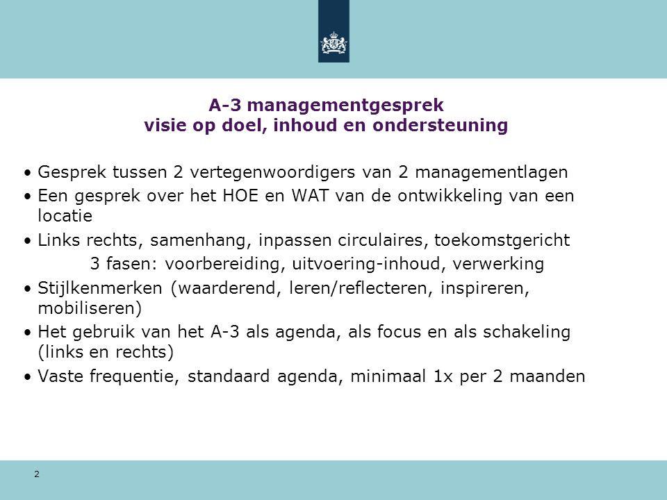 2 A-3 managementgesprek visie op doel, inhoud en ondersteuning Gesprek tussen 2 vertegenwoordigers van 2 managementlagen Een gesprek over het HOE en W