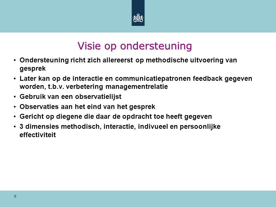 6 Visie op ondersteuning Ondersteuning richt zich allereerst op methodische uitvoering van gesprek Later kan op de interactie en communicatiepatronen