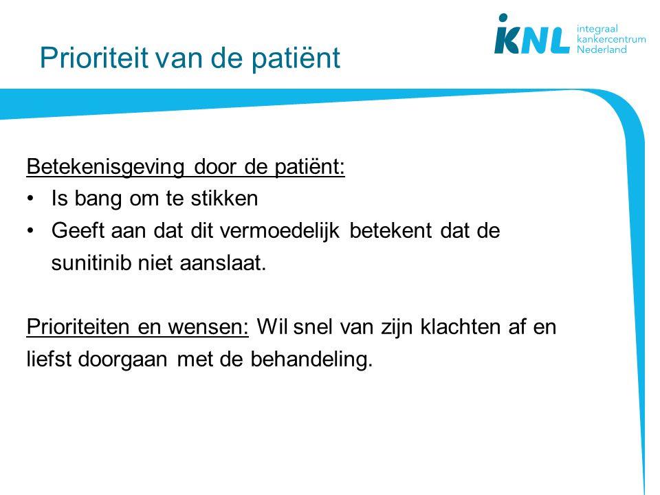 Prioriteit van de patiënt Betekenisgeving door de patiënt: Is bang om te stikken Geeft aan dat dit vermoedelijk betekent dat de sunitinib niet aanslaat.