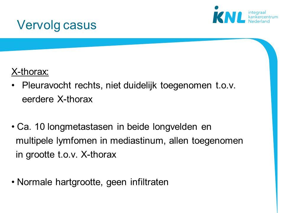 Vervolg casus X-thorax: Pleuravocht rechts, niet duidelijk toegenomen t.o.v.