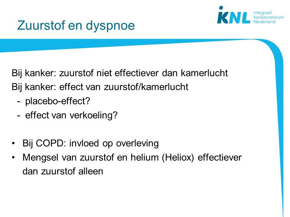 Zuurstof en dyspnoe Bij kanker: zuurstof niet effectiever dan kamerlucht Bij kanker: effect van zuurstof/kamerlucht -placebo-effect.