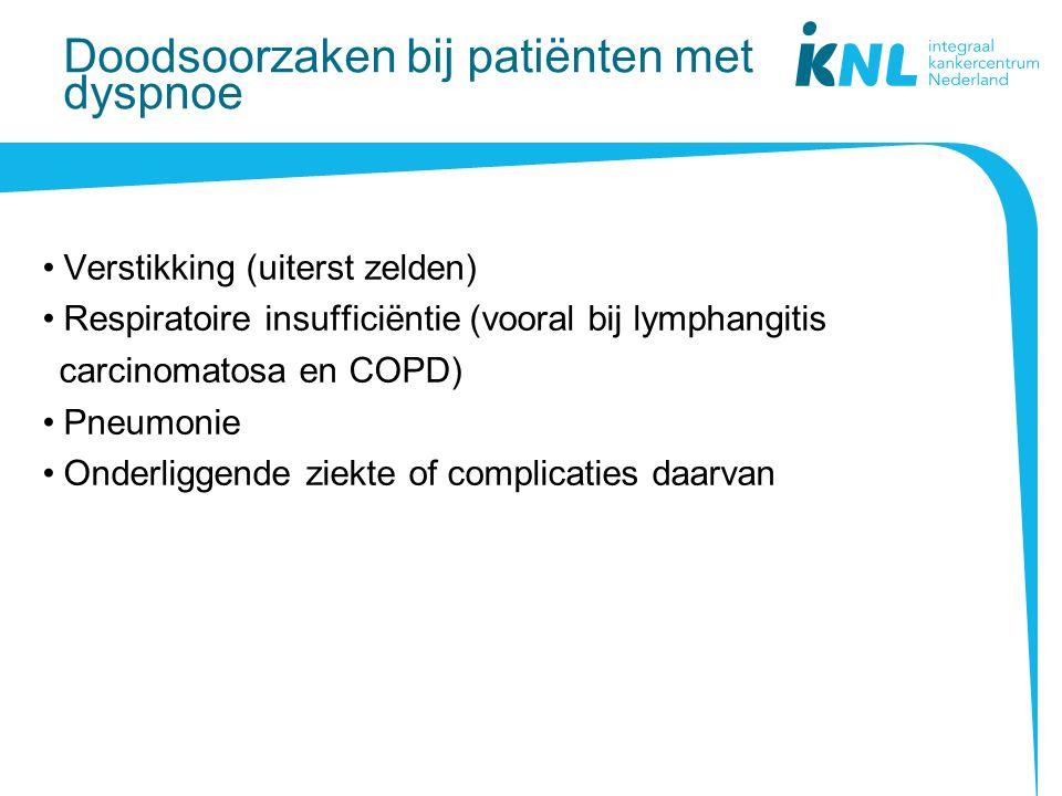 Doodsoorzaken bij patiënten met dyspnoe Verstikking (uiterst zelden) Respiratoire insufficiëntie (vooral bij lymphangitis carcinomatosa en COPD) Pneumonie Onderliggende ziekte of complicaties daarvan