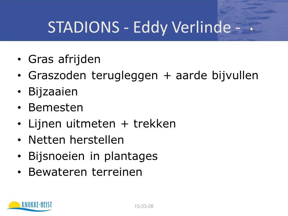 15-03-08 STADIONS - Eddy Verlinde - Gras afrijden Graszoden terugleggen + aarde bijvullen Bijzaaien Bemesten Lijnen uitmeten + trekken Netten herstellen Bijsnoeien in plantages Bewateren terreinen