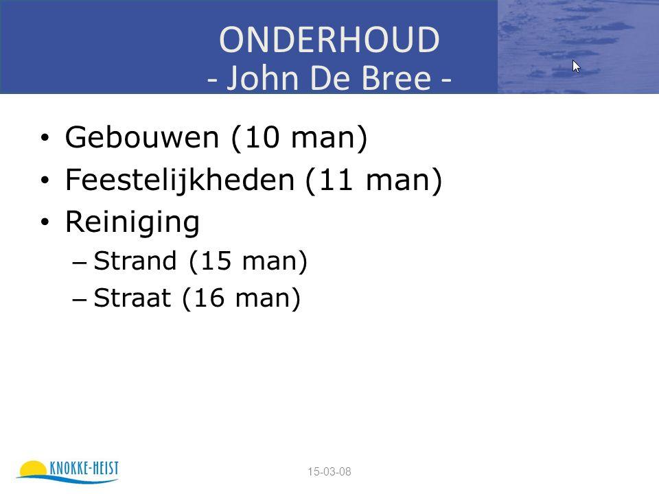 15-03-08 ONDERHOUD - John De Bree - Gebouwen (10 man) Feestelijkheden (11 man) Reiniging – Strand (15 man) – Straat (16 man)