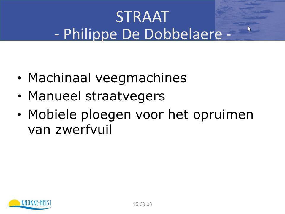 15-03-08 STRAAT - Philippe De Dobbelaere - Machinaal veegmachines Manueel straatvegers Mobiele ploegen voor het opruimen van zwerfvuil