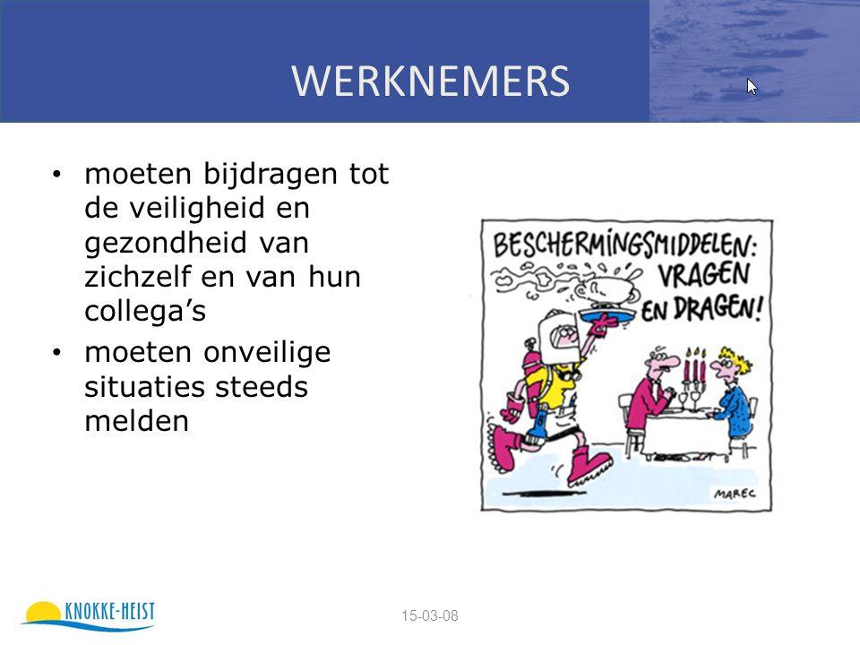 15-03-08 WERKNEMERS moeten bijdragen tot de veiligheid en gezondheid van zichzelf en van hun collega's moeten onveilige situaties steeds melden