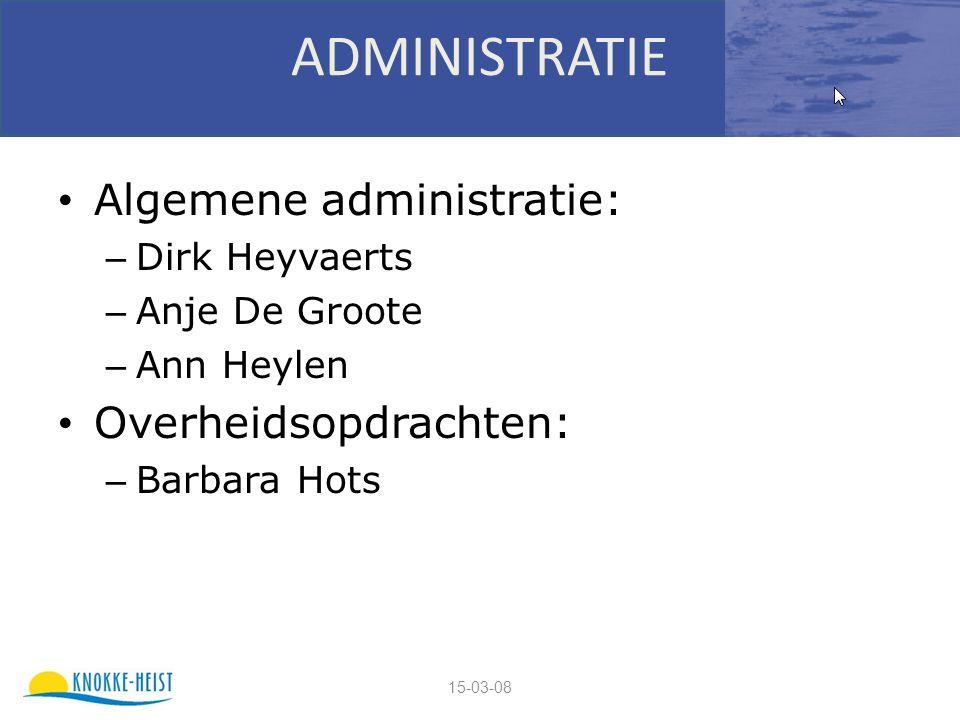 15-03-08 ADMINISTRATIE Algemene administratie: – Dirk Heyvaerts – Anje De Groote – Ann Heylen Overheidsopdrachten: – Barbara Hots