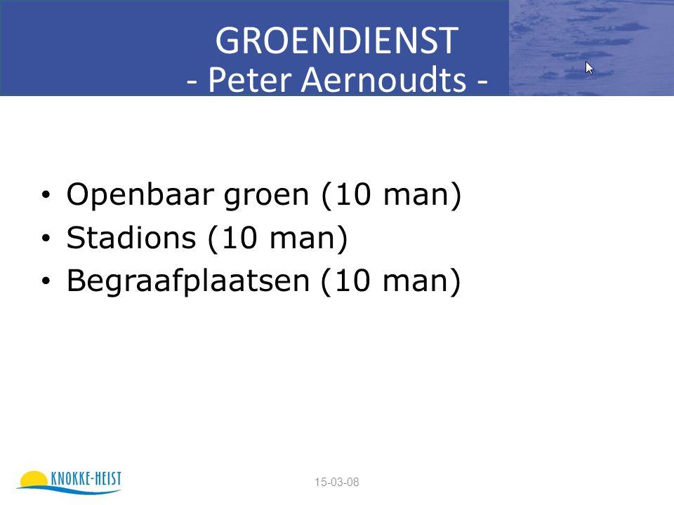 15-03-08 GROENDIENST - Peter Aernoudts - Openbaar groen (10 man) Stadions (10 man) Begraafplaatsen (10 man)