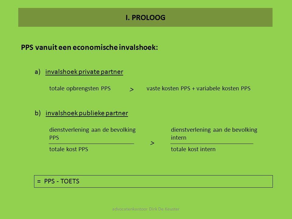 I. PROLOOG PPS vanuit een economische invalshoek: dienstverlening aan de bevolking PPS totale kost PPS dienstverlening aan de bevolking intern totale