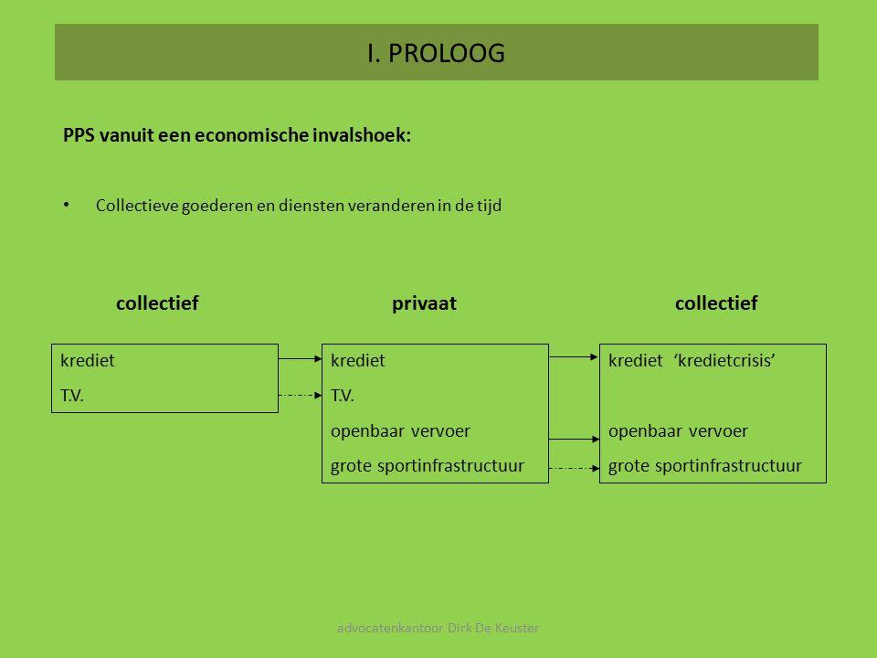 I. PROLOOG PPS vanuit een economische invalshoek: Collectieve goederen en diensten veranderen in de tijd krediet T.V. krediet T.V. openbaar vervoer gr