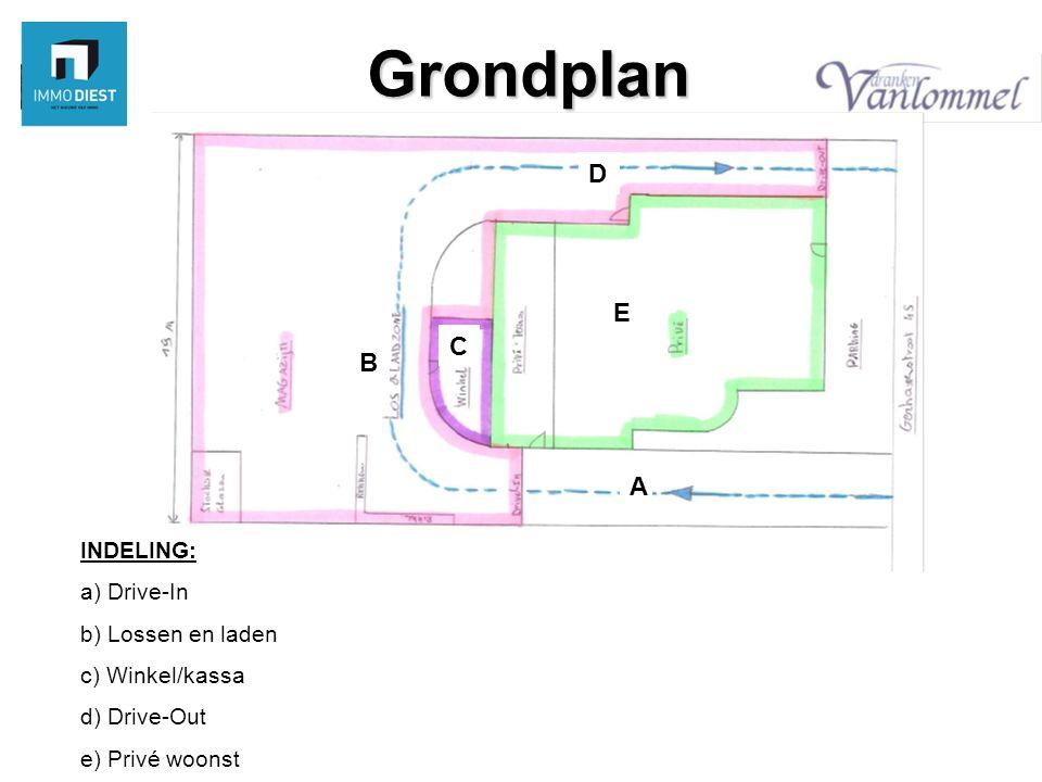 Grondplan INDELING: a) Drive-In b) Lossen en laden c) Winkel/kassa d) Drive-Out e) Privé woonst A B C D E
