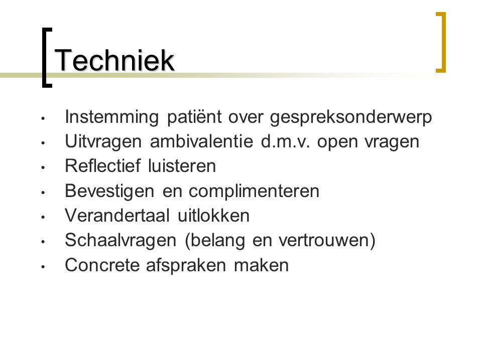 Techniek Instemming patiënt over gespreksonderwerp Uitvragen ambivalentie d.m.v.