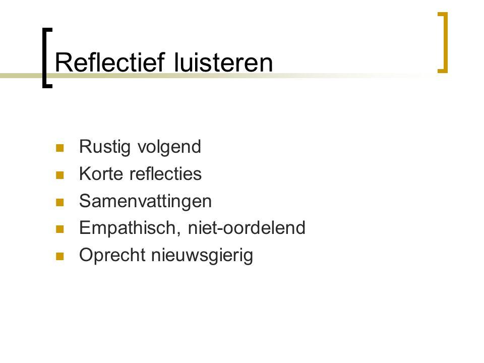Reflectief luisteren Rustig volgend Korte reflecties Samenvattingen Empathisch, niet-oordelend Oprecht nieuwsgierig