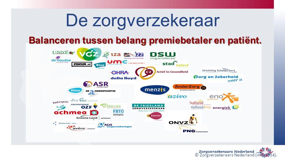 De zorgverzekeraar Balanceren tussen belang premiebetaler en patiënt. © Zorgverzekeraars Nederland (mei 2014).