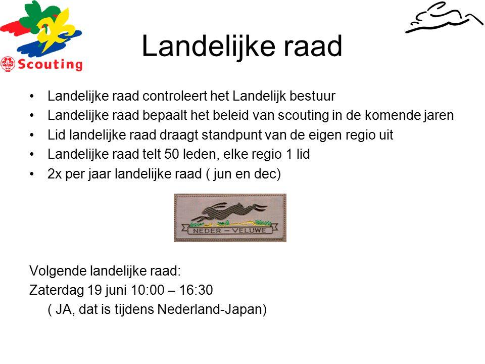 Landelijke raad Landelijke raad controleert het Landelijk bestuur Landelijke raad bepaalt het beleid van scouting in de komende jaren Lid landelijke raad draagt standpunt van de eigen regio uit Landelijke raad telt 50 leden, elke regio 1 lid 2x per jaar landelijke raad ( jun en dec) Volgende landelijke raad: Zaterdag 19 juni 10:00 – 16:30 ( JA, dat is tijdens Nederland-Japan)