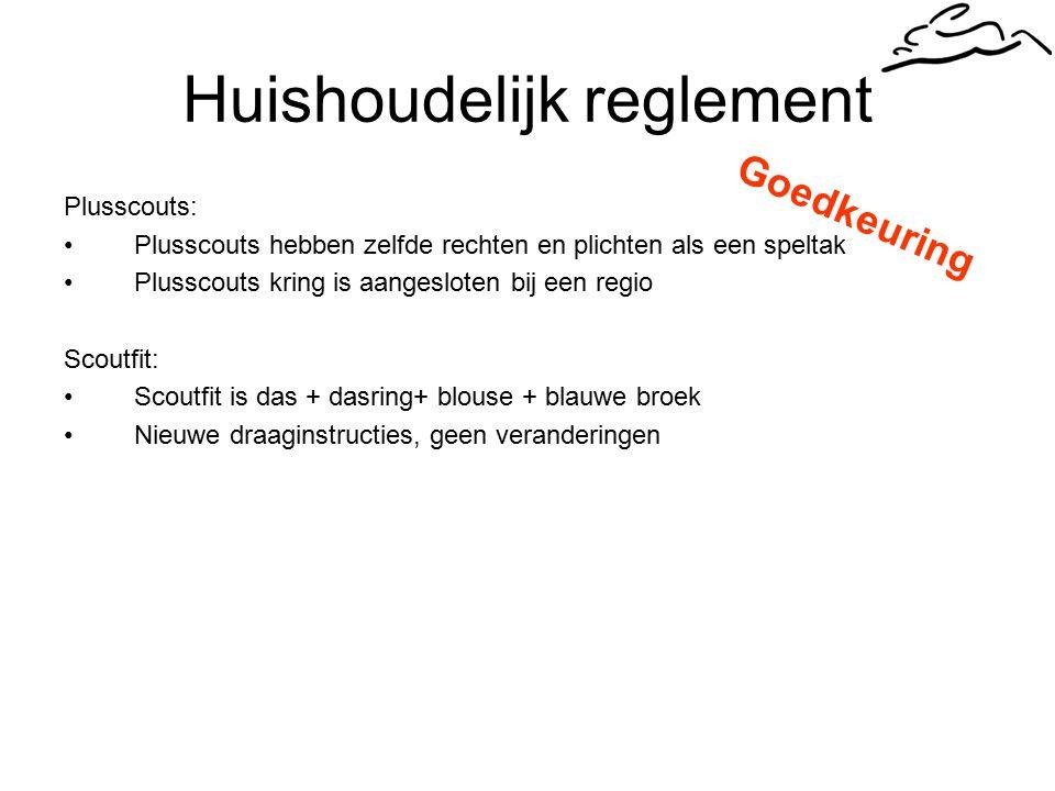 Huishoudelijk reglement Plusscouts: Plusscouts hebben zelfde rechten en plichten als een speltak Plusscouts kring is aangesloten bij een regio Scoutfit: Scoutfit is das + dasring+ blouse + blauwe broek Nieuwe draaginstructies, geen veranderingen Goedkeuring