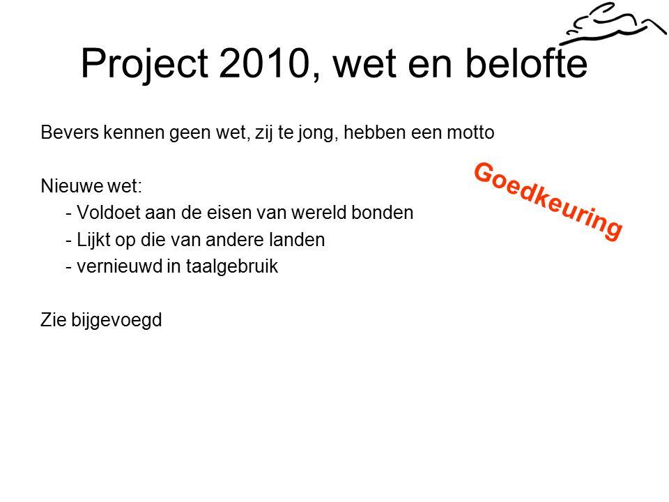 Project 2010, wet en belofte Bevers kennen geen wet, zij te jong, hebben een motto Nieuwe wet: - Voldoet aan de eisen van wereld bonden - Lijkt op die van andere landen - vernieuwd in taalgebruik Zie bijgevoegd Goedkeuring