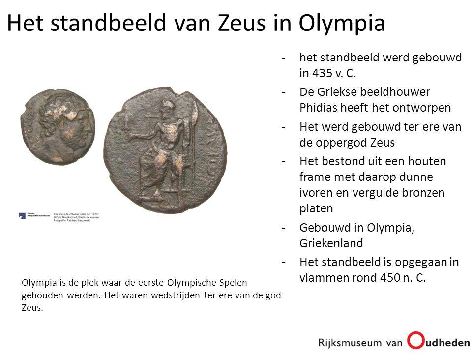 -het standbeeld werd gebouwd in 435 v. C. -De Griekse beeldhouwer Phidias heeft het ontworpen -Het werd gebouwd ter ere van de oppergod Zeus -Het best