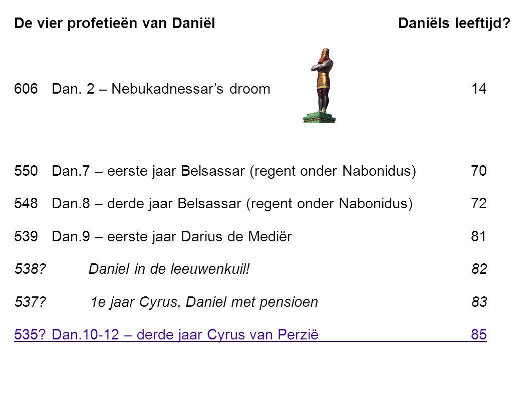 De vier profetieën van Daniël Daniëls leeftijd. 606Dan.