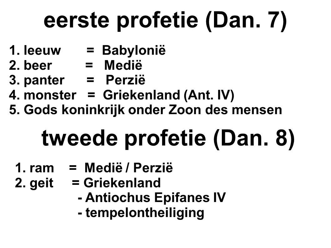 1. leeuw = Babylonië 2. beer = Medië 3. panter = Perzië 4.
