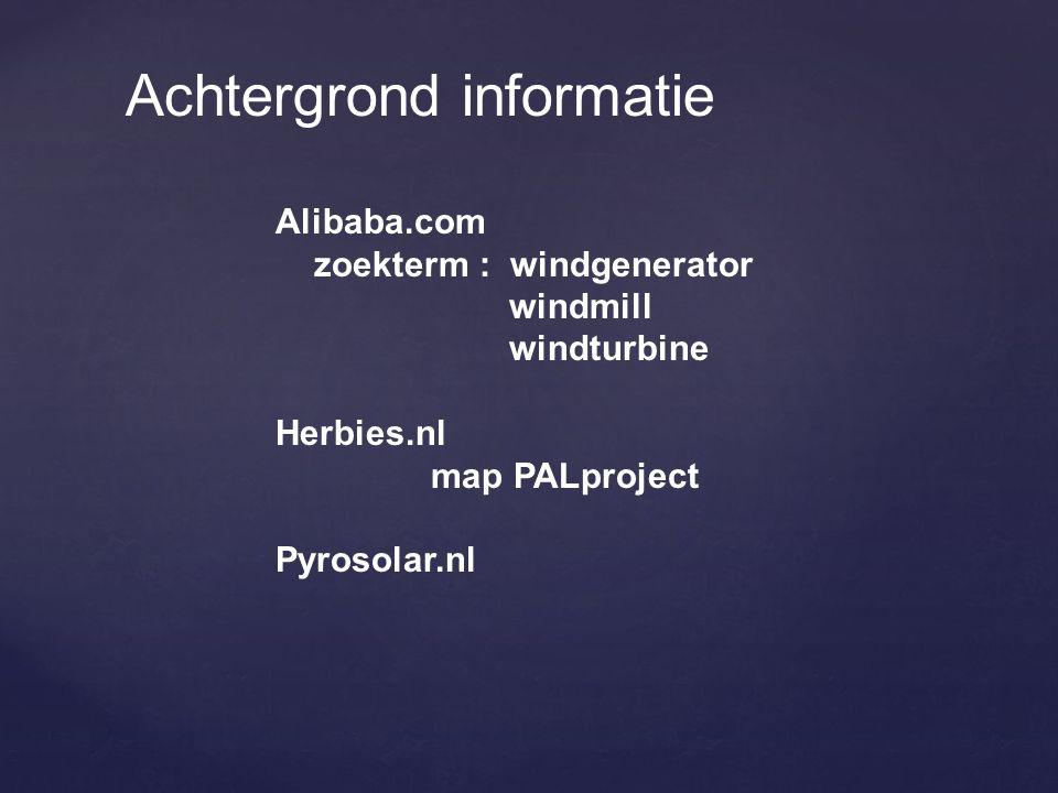 Achtergrond informatie Alibaba.com zoekterm : windgenerator windmill windturbine Herbies.nl map PALproject Pyrosolar.nl