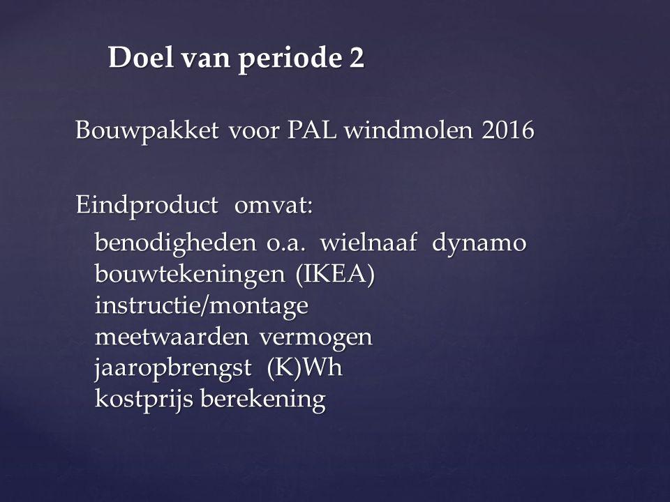 Bouwpakket voor PAL windmolen 2016 Eindproduct omvat: benodigheden o.a.