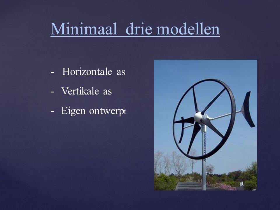 Minimaal drie modellen - Horizontale as -Vertikale as -Eigen ontwerp t