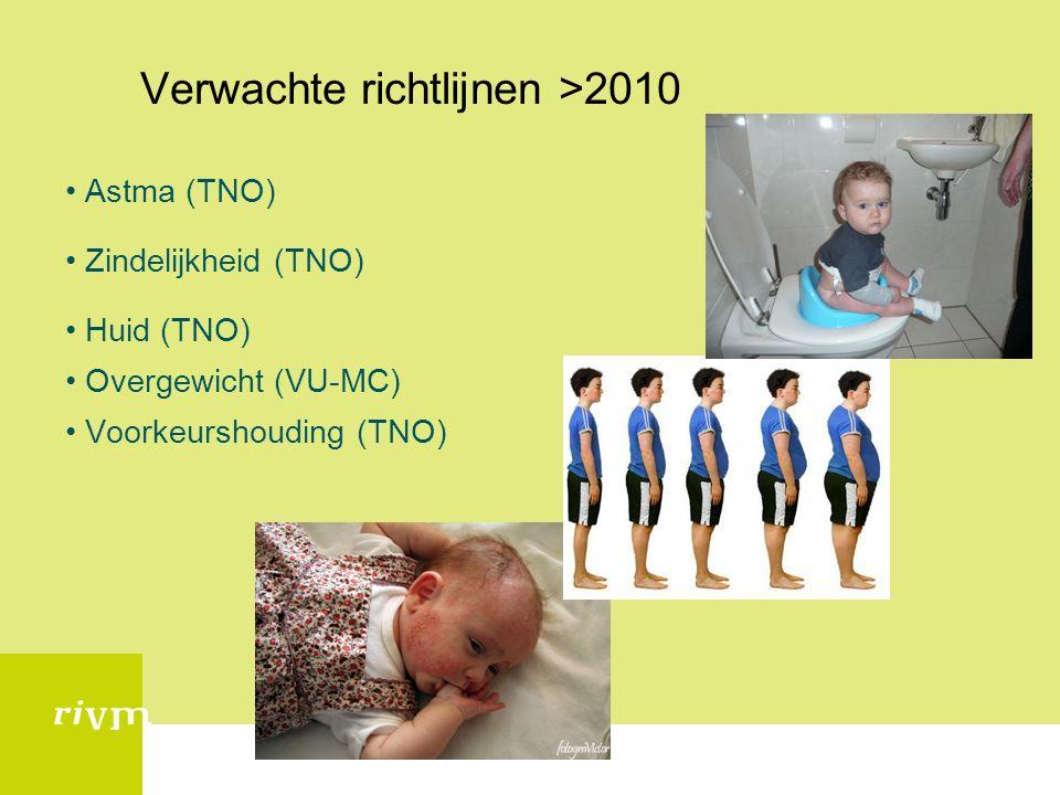 Verwachte richtlijnen >2010 Astma (TNO) Zindelijkheid (TNO) Huid (TNO) Overgewicht (VU-MC) Voorkeurshouding (TNO)