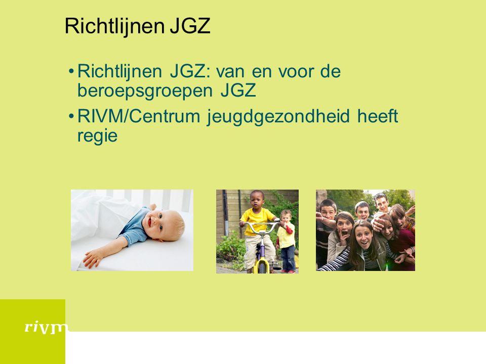Richtlijn Advies Commissie RIVM Samenstelling RAC Leden: AJN (voorzitter), V&VN en NVDA Secretaris RIVM Centrum Jeugd Gezondheid Adviseurs: ActiZ, GGD Nederland, VNG, wetenschappelijke commissie RIVM, managers JGZ, implementatieadviseur (TNO), richtlijn- ontwikkeladviseur (CBO) Waarnemers: IGZ, Min VWS, ZonMW