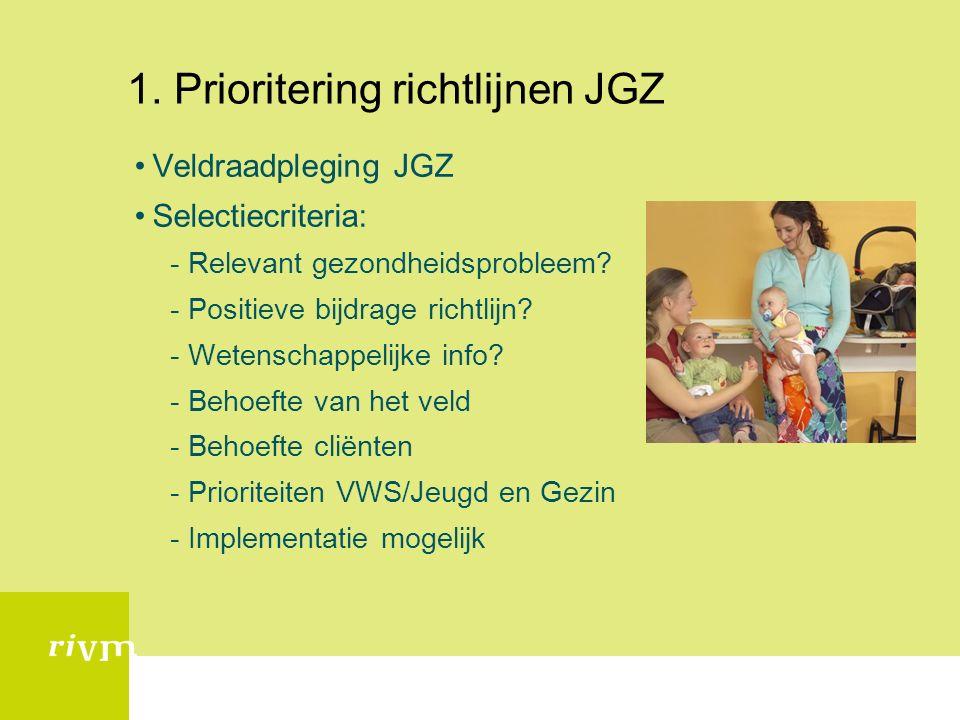 1. Prioritering richtlijnen JGZ Veldraadpleging JGZ Selectiecriteria: -Relevant gezondheidsprobleem? -Positieve bijdrage richtlijn? -Wetenschappelijke