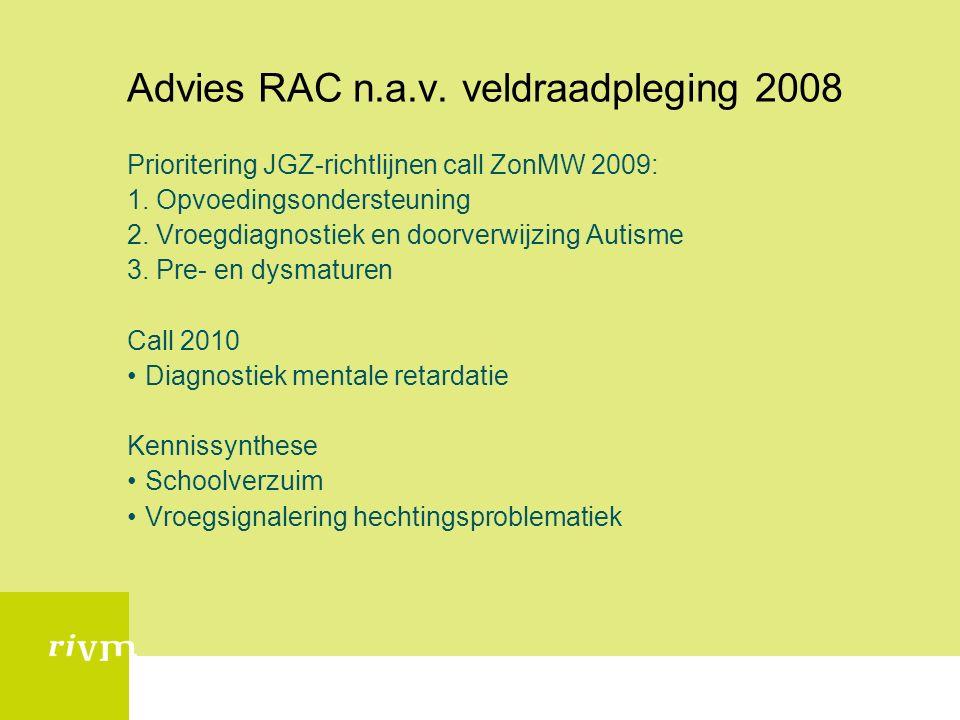 Advies RAC n.a.v. veldraadpleging 2008 Prioritering JGZ-richtlijnen call ZonMW 2009: 1.