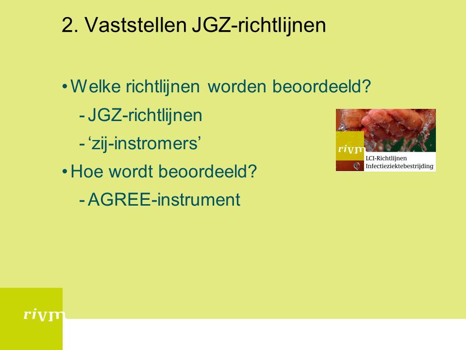 2. Vaststellen JGZ-richtlijnen Welke richtlijnen worden beoordeeld.