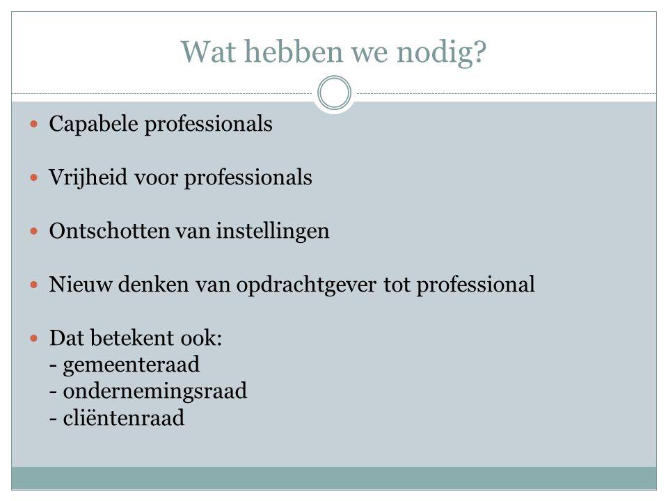 Wat hebben we nodig? Capabele professionals Vrijheid voor professionals Ontschotten van instellingen Nieuw denken van opdrachtgever tot professional D