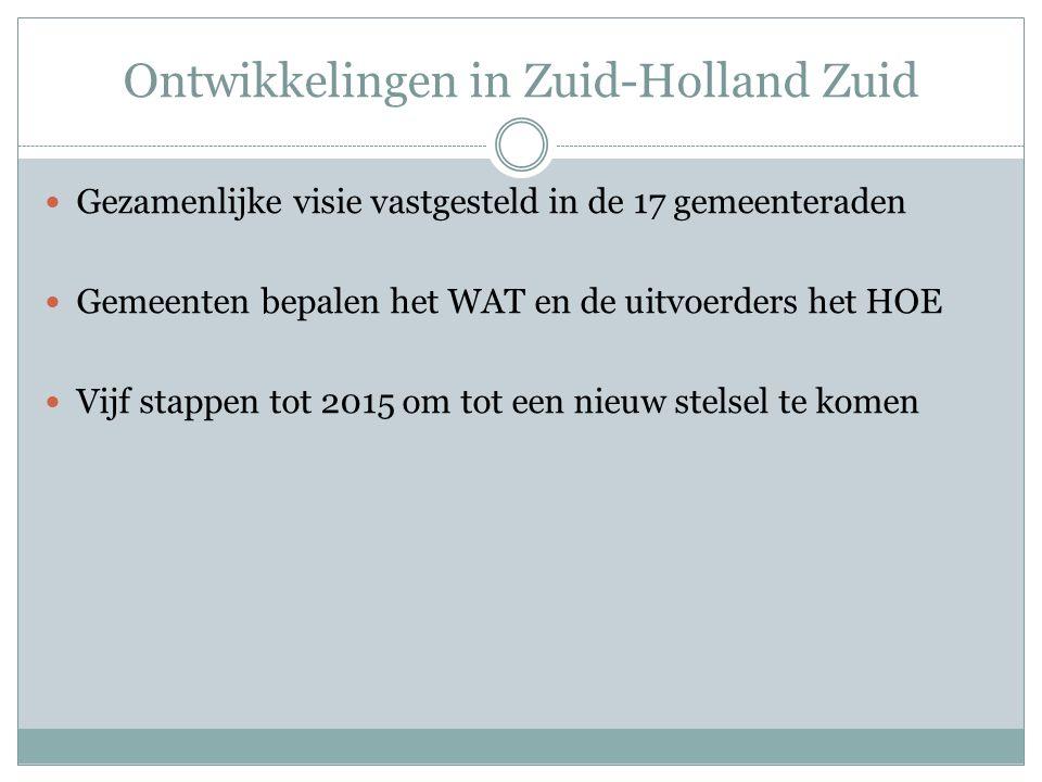Ontwikkelingen in Zuid-Holland Zuid Gezamenlijke visie vastgesteld in de 17 gemeenteraden Gemeenten bepalen het WAT en de uitvoerders het HOE Vijf stappen tot 2015 om tot een nieuw stelsel te komen