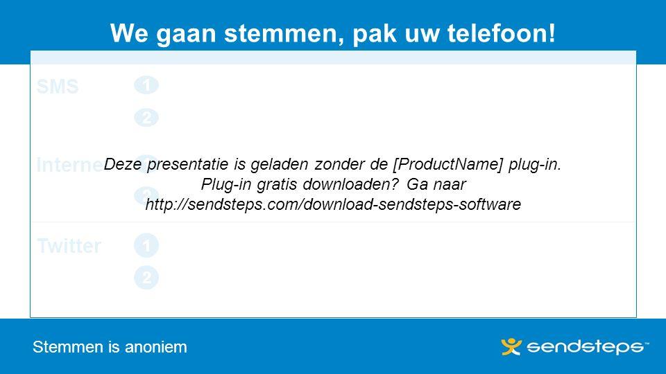 SMS 1 2 Internet 1 2 Stemmen is anoniem We gaan stemmen, pak uw telefoon.