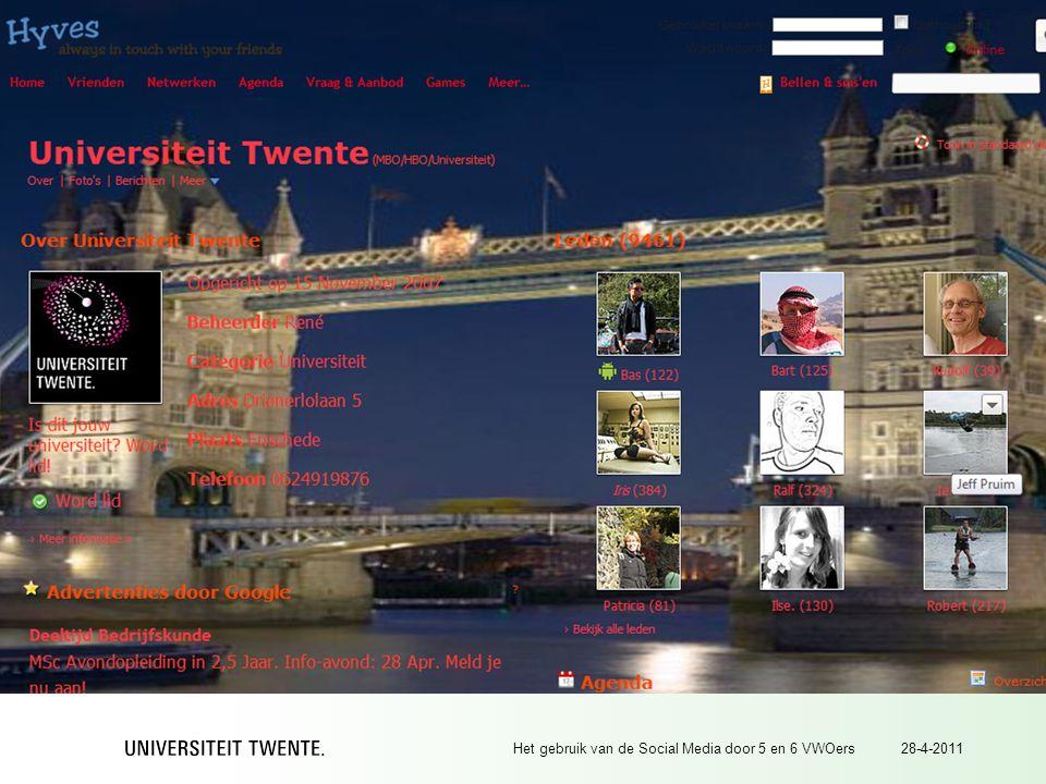 28-4-2011Het gebruik van de Social Media door 5 en 6 VWOers