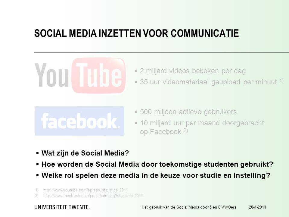 28-4-2011Het gebruik van de Social Media door 5 en 6 VWOers SOCIAL MEDIA INZETTEN VOOR COMMUNICATIE  500 miljoen actieve gebruikers  10 miljard uur per maand doorgebracht op Facebook 2)  2 miljard videos bekeken per dag  35 uur videomateriaal geupload per minuut 1) 1)http://www.youtube.com/t/press_statistics, 2011 2)http://www.facebook.com/press/info.php?statistics, 2011  Wat zijn de Social Media.
